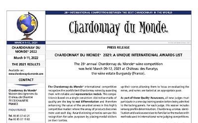 GOMOTARTZI Chardonnay входит в десятку лучших шардоне конкурса Chardonnay du monde!